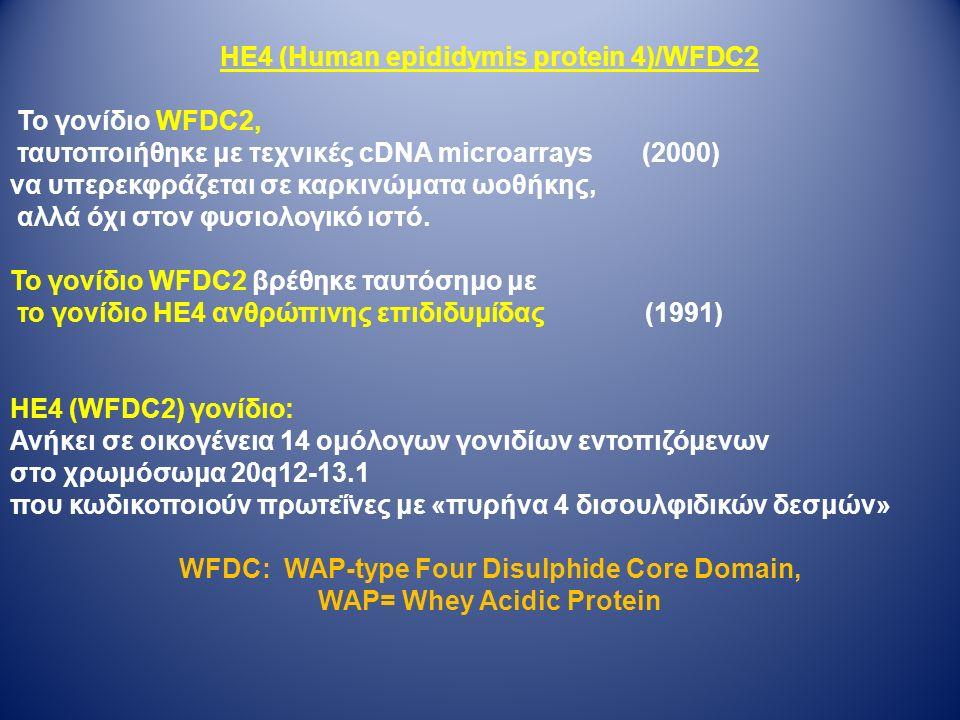 ΗΕ4 (Human epididymis protein 4)/WFDC2 Το γονίδιο WFDC2, ταυτοποιήθηκε με τεχνικές cDNA microarrays (2000) να υπερεκφράζεται σε καρκινώματα ωοθήκης, αλλά όχι στον φυσιολογικό ιστό.