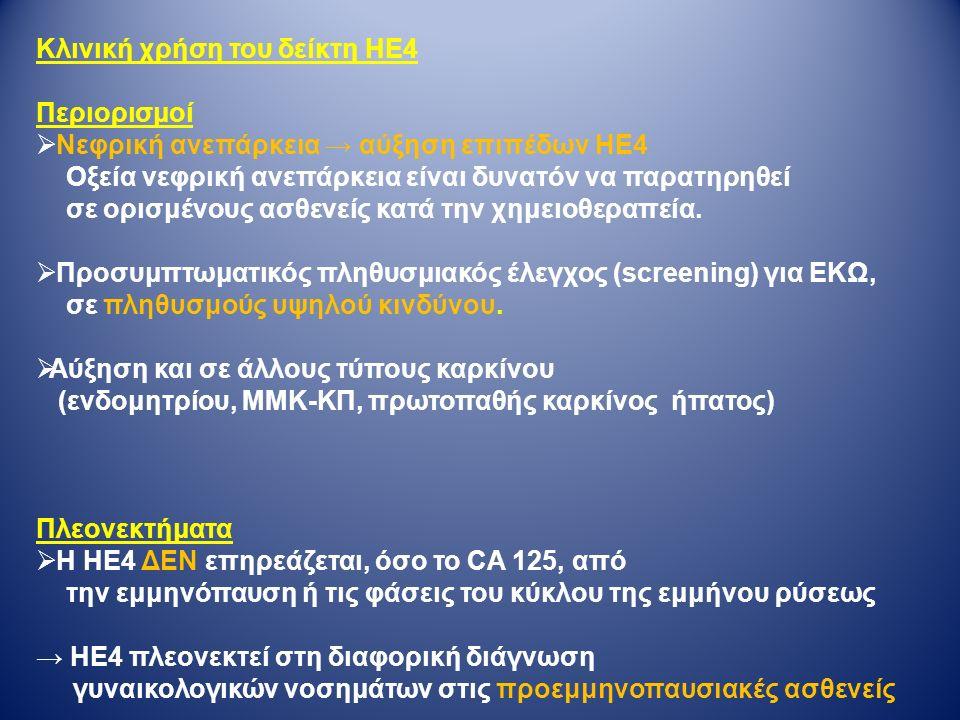 Κλινική χρήση του δείκτη ΗΕ4 Περιορισμοί  Νεφρική ανεπάρκεια → αύξηση επιπέδων ΗΕ4 Οξεία νεφρική ανεπάρκεια είναι δυνατόν να παρατηρηθεί σε ορισμένους ασθενείς κατά την χημειοθεραπεία.