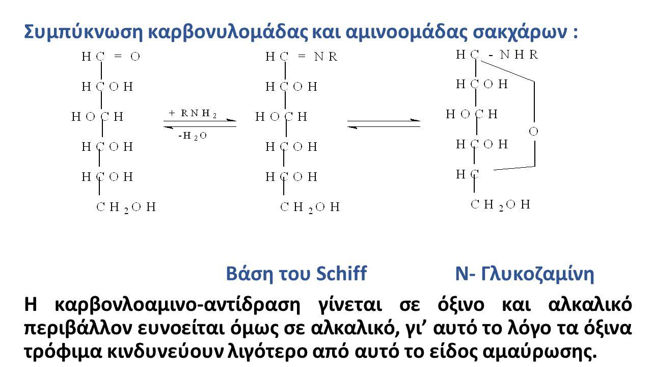 Συμπύκνωση καρβονυλομάδας και αμινοομάδας σακχάρων : Βάση του Schiff N- Γλυκοζαμίνη H καρβονλοαμινο-αντίδραση γίνεται σε όξινο και αλκαλικό περιβάλλον ευνοείται όμως σε αλκαλικό, γι' αυτό το λόγο τα όξινα τρόφιμα κινδυνεύουν λιγότερο από αυτό το είδος αμαύρωσης.