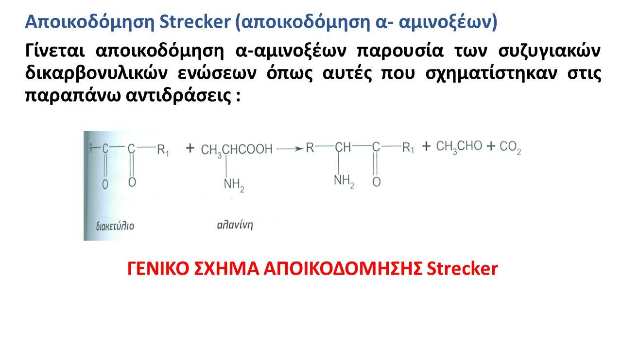 Αποικοδόμηση Strecker (αποικοδόμηση α- αμινοξέων) Γίνεται αποικοδόμηση α-αμινοξέων παρουσία των συζυγιακών δικαρβονυλικών ενώσεων όπως αυτές που σχηματίστηκαν στις παραπάνω αντιδράσεις : ΓΕΝΙΚΟ ΣΧΗΜΑ ΑΠΟΙΚΟΔΟΜΗΣΗΣ Strecker