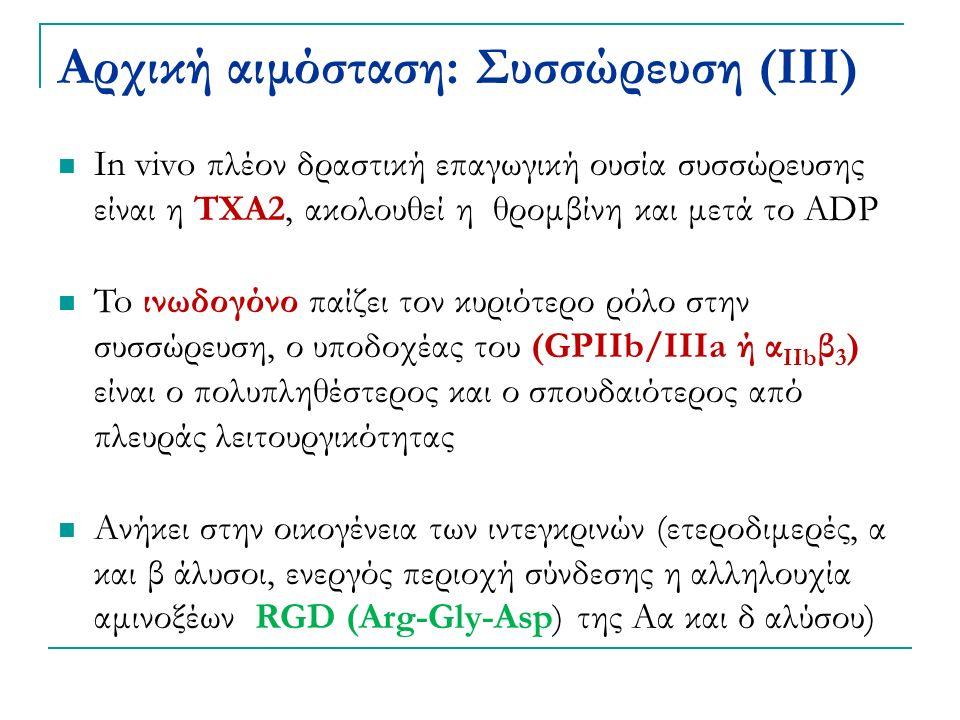Αρχική αιμόσταση: Συσσώρευση (ΙΙΙ) In vivo πλέον δραστική επαγωγική ουσία συσσώρευσης είναι η ΤΧΑ2, ακολουθεί η θρομβίνη και μετά το ADP To ινωδογόνο παίζει τον κυριότερο ρόλο στην συσσώρευση, ο υποδοχέας του (GPIIb/IIIa ή α IIb β 3 ) είναι ο πολυπληθέστερος και ο σπουδαιότερος από πλευράς λειτουργικότητας Ανήκει στην οικογένεια των ιντεγκρινών (ετεροδιμερές, α και β άλυσοι, ενεργός περιοχή σύνδεσης η αλληλουχία αμινοξέων RGD (Arg-Gly-Asp) της Αα και δ αλύσου)