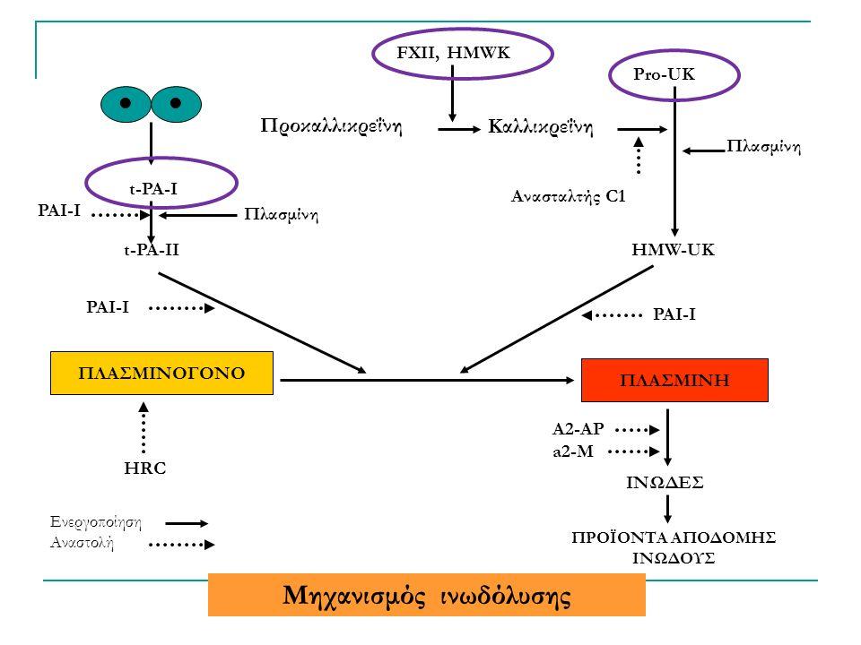 ΠΛΑΣΜΙΝΟΓΟΝΟ ΠΛΑΣΜΙΝΗ t-PA-I t-PA-II PAI-I HMW-UK Pro-UK Καλλικρεΐνη Προκαλλικρεΐνη Ανασταλτής C1 FXII, HMWK Πλασμίνη ΙΝΩΔΕΣ ΠΡΟΪΟΝΤΑ ΑΠΟΔΟΜΗΣ ΙΝΩΔΟΥΣ PAI-I HRC A2-AP a2-M Πλασμίνη Ενεργοποίηση Αναστολή Μηχανισμός ινωδόλυσης
