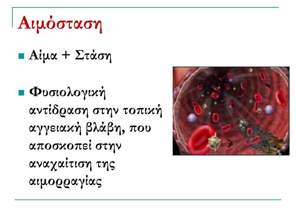 Αιμόσταση Αίμα + Στάση Φυσιολογική αντίδραση στην τοπική αγγειακή βλάβη, που αποσκοπεί στην αναχαίτιση της αιμορραγίας