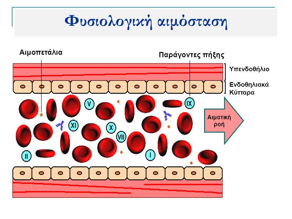 Αιμοπετάλια Παράγοντες πήξης Υπενδοθήλιο Ενδοθηλιακά Κύτταρα Φυσιολογική αιμόσταση Αιματική ροή