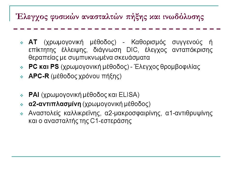 Έλεγχος φυσικών ανασταλτών πήξης και ινωδόλυσης  ΑΤ (χρωμογονική μέθοδος) - Καθορισμός συγγενούς ή επίκτητης έλλειψης, διάγνωση DIC, έλεγχος ανταπόκρισης θεραπείας με συμπυκνωμένα σκευάσματα  PC και PS (χρωμογονική μέθοδος) - Έλεγχος θρομβοφιλίας  APC-R (μέθοδος χρόνου πήξης)  ΡΑΙ (χρωμογονική μέθοδος και ELISA)  α2-αντιπλασμίνη (χρωμογονική μέθοδος)  Αναστολείς καλλικρεΐνης, α2-μακροσφαιρίνης, α1-αντιθρυψίνης και ο ανασταλτής της C1-εστεράσης