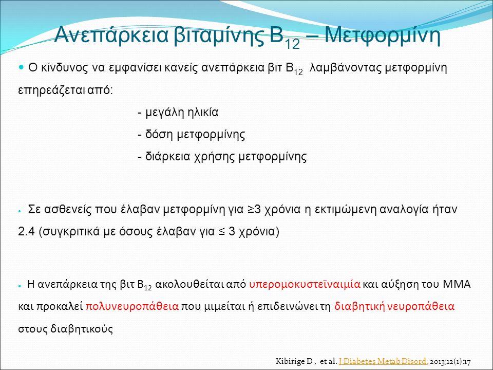 Ανεπάρκεια βιταμίνης Β 12 – Μετφορμίνη Ο κίνδυνος να εμφανίσει κανείς ανεπάρκεια βιτ Β 12 λαμβάνοντας μετφορμίνη επηρεάζεται από: - μεγάλη ηλικία - δόση μετφορμίνης - διάρκεια χρήσης μετφορμίνης Σε ασθενείς που έλαβαν μετφορμίνη για ≥3 χρόνια η εκτιμώμενη αναλογία ήταν 2.4 (συγκριτικά με όσους έλαβαν για ≤ 3 χρόνια) ● Η ανεπάρκεια της βιτ Β 12 ακολουθείται από υπερομοκυστεϊναιμία και αύξηση του ΜΜΑ και προκαλεί πολυνευροπάθεια που μιμείται ή επιδεινώνει τη διαβητική νευροπάθεια στους διαβητικούς Kibirige D, et al.