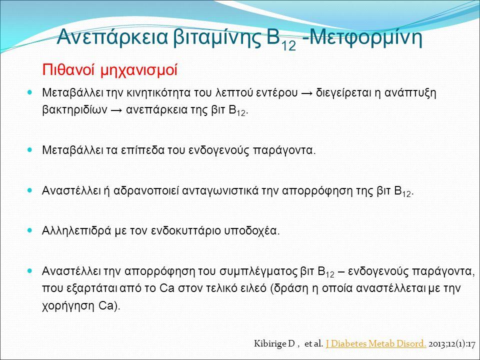 Ανεπάρκεια βιταμίνης Β 12 -Μετφορμίνη Πιθανοί μηχανισμοί Μεταβάλλει την κινητικότητα του λεπτού εντέρου → διεγείρεται η ανάπτυξη βακτηριδίων → ανεπάρκεια της βιτ Β 12.