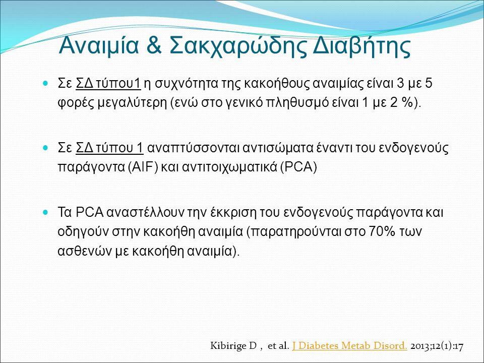 Σε ΣΔ τύπου1 η συχνότητα της κακοήθους αναιμίας είναι 3 με 5 φορές μεγαλύτερη (ενώ στο γενικό πληθυσμό είναι 1 με 2 %). Σε ΣΔ τύπου 1 αναπτύσσονται αν