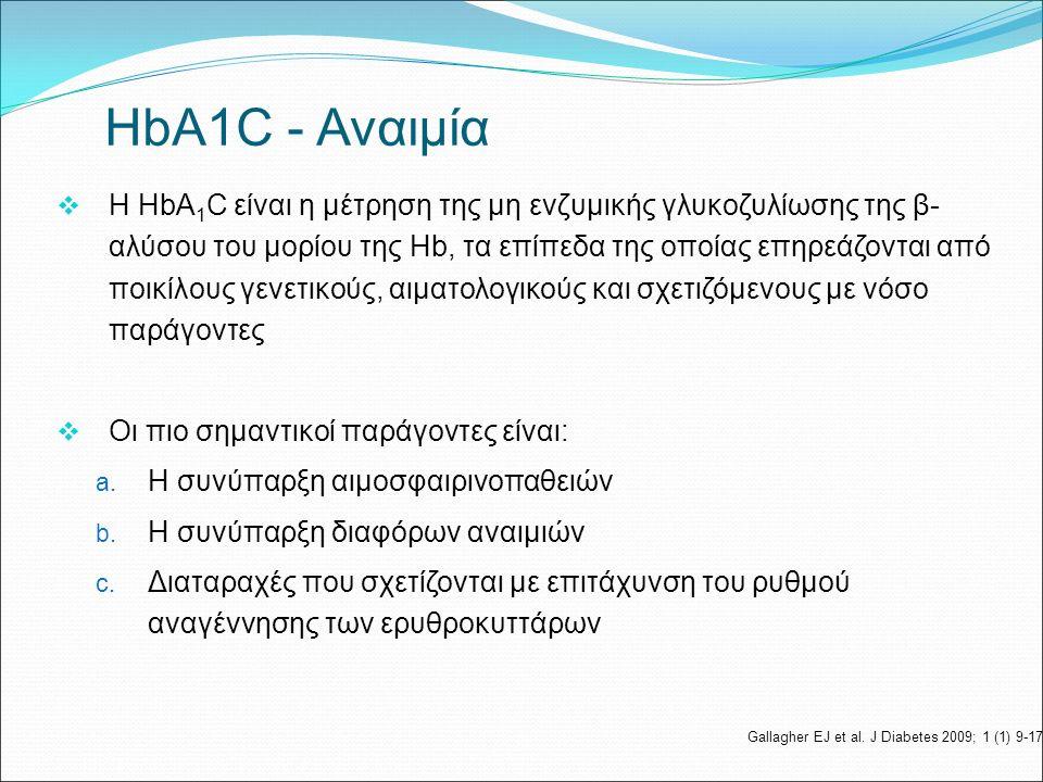  Η HbA 1 C είναι η μέτρηση της μη ενζυμικής γλυκοζυλίωσης της β- αλύσου του μορίου της Ηb, τα επίπεδα της οποίας επηρεάζονται από ποικίλους γενετικούς, αιματολογικούς και σχετιζόμενους με νόσο παράγοντες  Οι πιο σημαντικοί παράγοντες είναι: a.