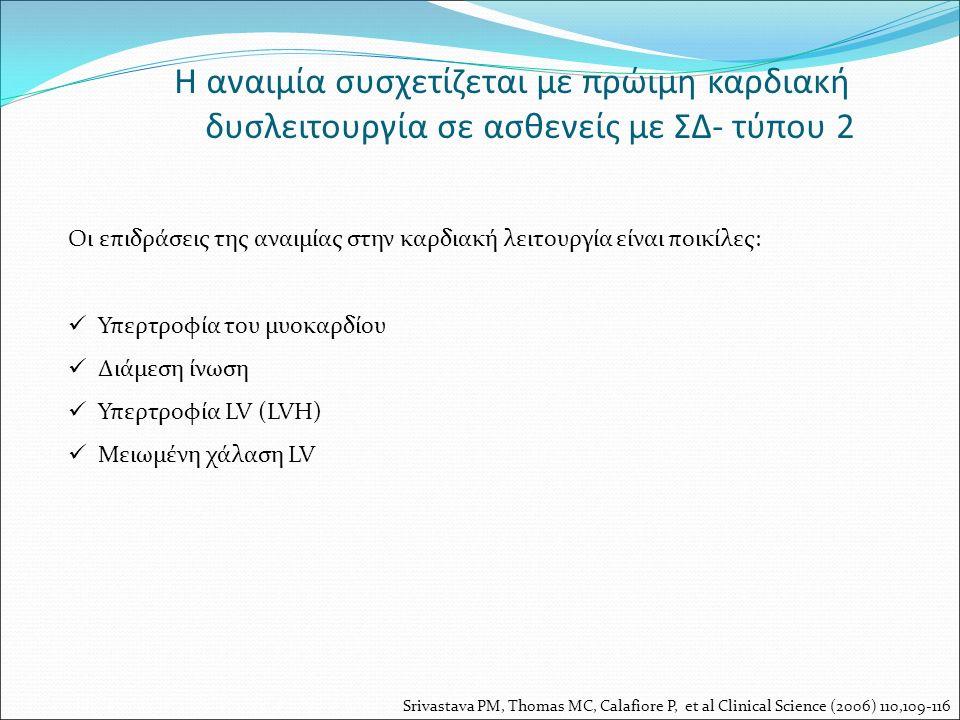 Η αναιμία συσχετίζεται με πρώιμη καρδιακή δυσλειτουργία σε ασθενείς με ΣΔ- τύπου 2 Οι επιδράσεις της αναιμίας στην καρδιακή λειτουργία είναι ποικίλες: Υπερτροφία του μυοκαρδίου Διάμεση ίνωση Υπερτροφία LV (LVH) Μειωμένη χάλαση LV Srivastava PM, Thomas MC, Calafiore P, et al Clinical Science (2006) 110,109-116