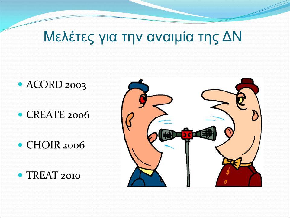 Μελέτες για την αναιμία της ΔΝ ACORD 2003 CREATE 2006 CHOIR 2006 TREAT 2010