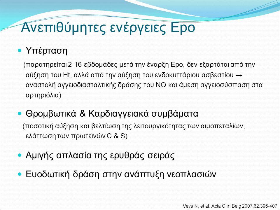 Ανεπιθύμητες ενέργειες Epo Υπέρταση (παρατηρείται 2-16 εβδομάδες μετά την έναρξη Epo, δεν εξαρτάται από την αύξηση του Ht, αλλά από την αύξηση του ενδοκυττάριου ασβεστίου → αναστολή αγγειοδιασταλτικής δράσης του ΝΟ και άμεση αγγειοσύσπαση στα αρτηριόλια) Θρομβωτικά & Καρδιαγγειακά συμβάματα (ποσοτική αύξηση και βελτίωση της λειτουργικότητας των αιμοπεταλίων, ελάττωση των πρωτεϊνών C & S) Αμιγής απλασία της ερυθράς σειράς Ευοδωτική δράση στην ανάπτυξη νεοπλασιών Veys N, et al.