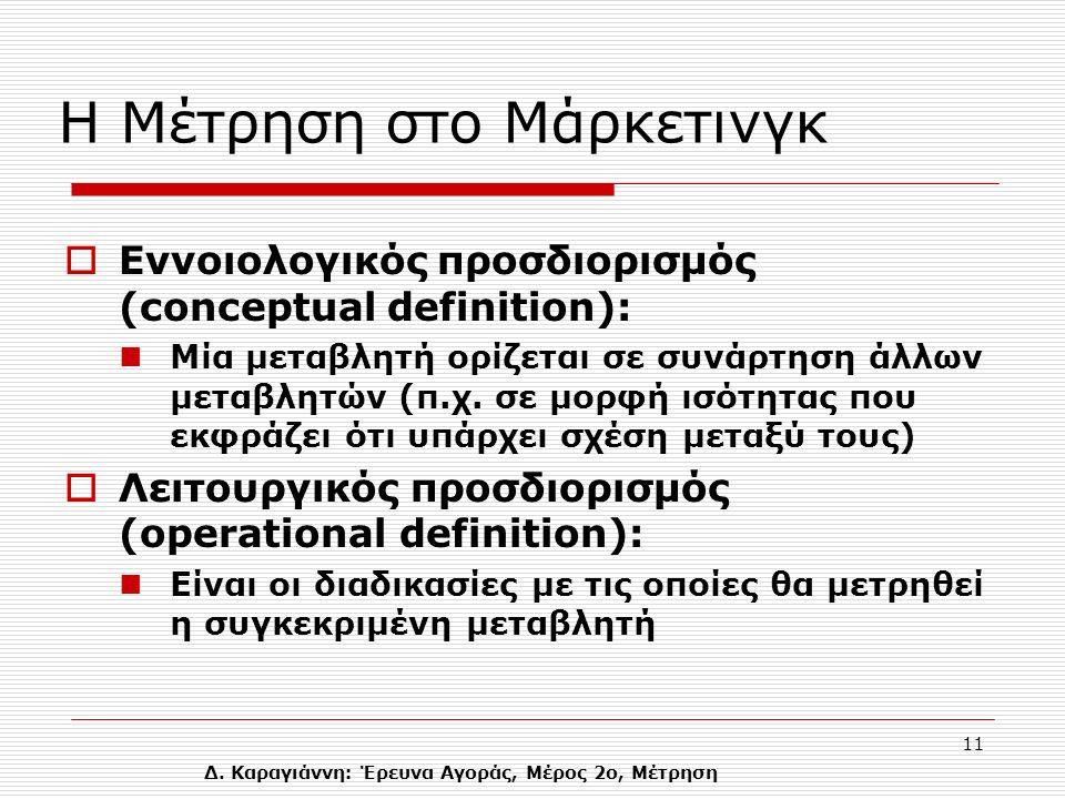 Δ. Καραγιάννη: Έρευνα Αγοράς, Μέρος 2ο, Μέτρηση 11 Η Μέτρηση στο Μάρκετινγκ  Εννοιολογικός προσδιορισμός (conceptual definition): Mία μεταβλητή ορίζε