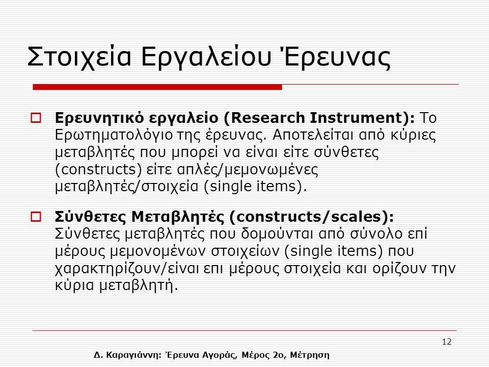 Δ. Καραγιάννη: Έρευνα Αγοράς, Μέρος 2ο, Μέτρηση 12 Στοιχεία Εργαλείου Έρευνας  Ερευνητικό εργαλείο (Research Instrument): Το Eρωτηματολόγιο της έρευν
