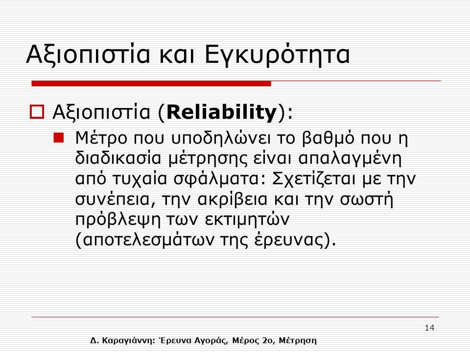 Δ. Καραγιάννη: Έρευνα Αγοράς, Μέρος 2ο, Μέτρηση 14 Αξιοπιστία και Eγκυρότητα  Αξιοπιστία (Reliability): Μέτρο που υποδηλώνει το βαθμό που η διαδικασί