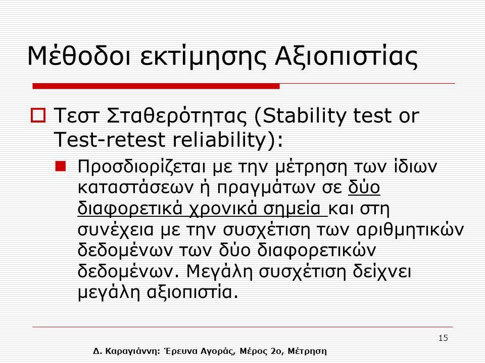 Δ. Καραγιάννη: Έρευνα Αγοράς, Μέρος 2ο, Μέτρηση 15 Mέθοδοι εκτίμησης Αξιοπιστίας  Tεστ Σταθερότητας (Stability test or Τest-retest reliability): Προσ