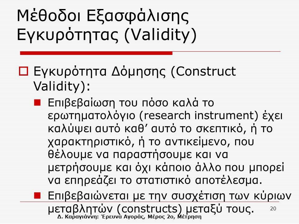Δ. Καραγιάννη: Έρευνα Αγοράς, Μέρος 2ο, Μέτρηση 20 Μέθοδοι Εξασφάλισης Eγκυρότητας (Validity)  Εγκυρότητα Δόμησης (Construct Validity): Eπιβεβαίωση τ