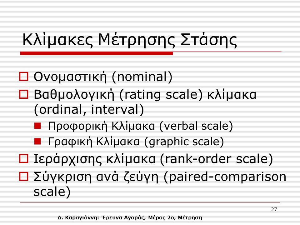 Δ. Καραγιάννη: Έρευνα Αγοράς, Μέρος 2ο, Μέτρηση 27 Κλίμακες Μέτρησης Στάσης  Oνομαστική (nominal)  Βαθμολογική (rating scale) κλίμακα (ordinal, inte