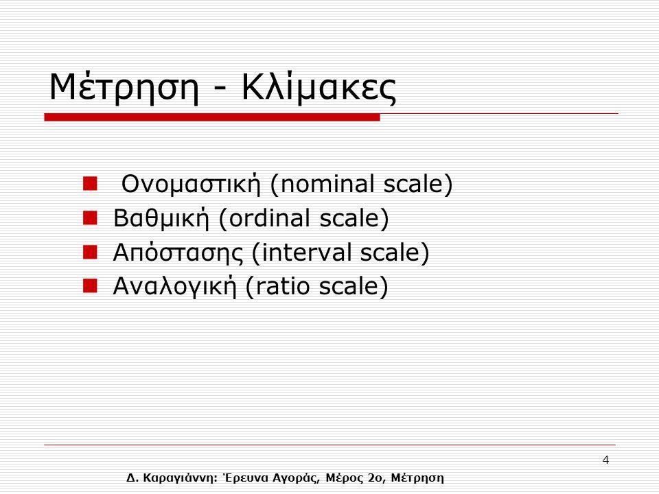 Δ. Καραγιάννη: Έρευνα Αγοράς, Μέρος 2ο, Μέτρηση 4 Mέτρηση - Κλίμακες Ονομαστική (nominal scale) Βαθμική (ordinal scale) Απόστασης (interval scale) Ανα