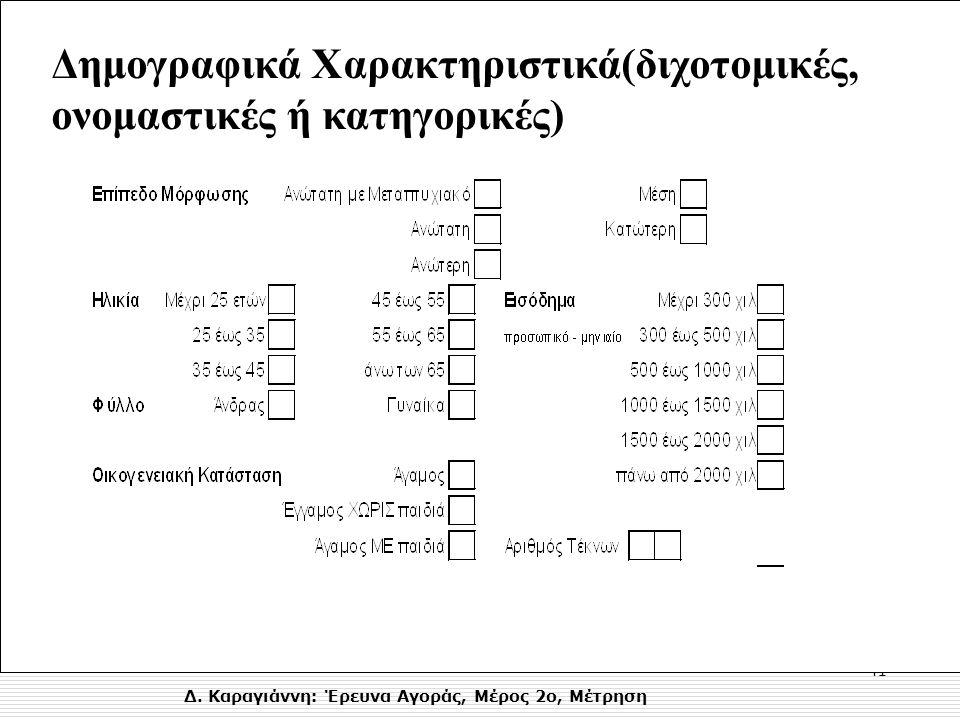 Δ. Καραγιάννη: Έρευνα Αγοράς, Μέρος 2ο, Μέτρηση 41 Δημογραφικά Χαρακτηριστικά(διχοτομικές, ονομαστικές ή κατηγορικές)
