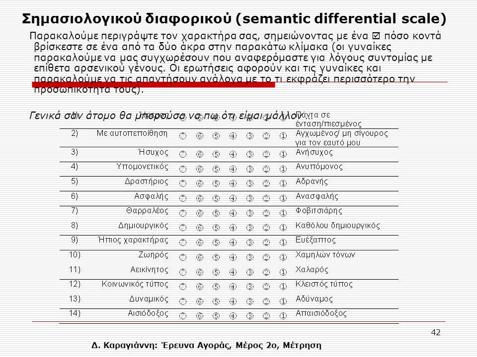 Δ. Καραγιάννη: Έρευνα Αγοράς, Μέρος 2ο, Μέτρηση 42 Σημασιολογικού διαφορικού (semantic differential scale) Παρακαλούμε περιγράψτε τον χαρακτήρα σας, σ