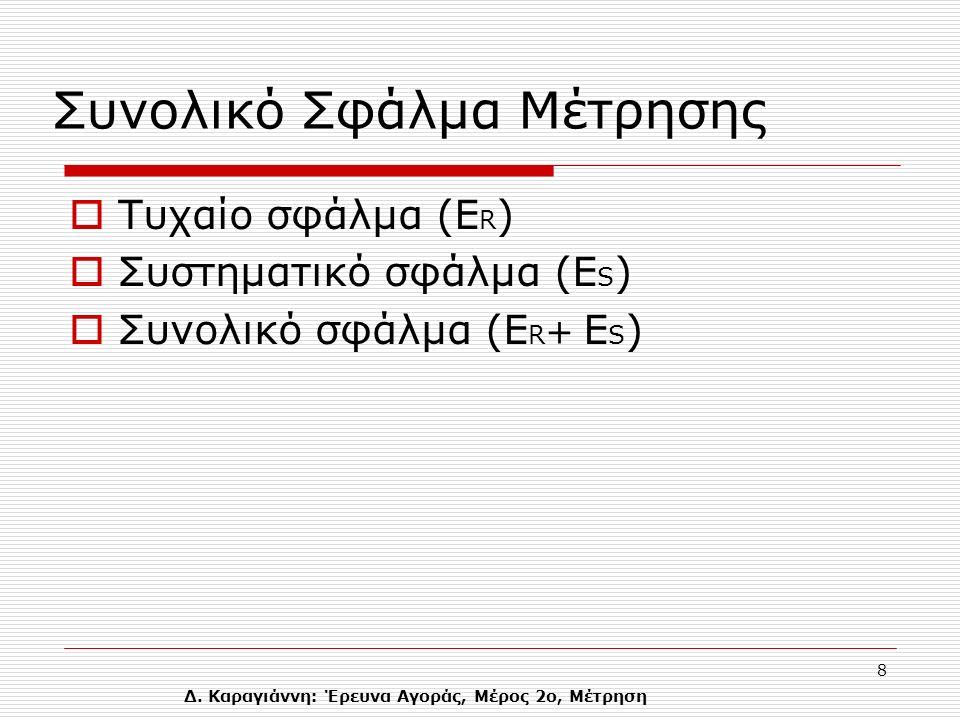 Δ. Καραγιάννη: Έρευνα Αγοράς, Μέρος 2ο, Μέτρηση 8 Συνολικό Σφάλμα Μέτρησης  Τυχαίο σφάλμα (Ε R )  Συστηματικό σφάλμα (E S )  Συνολικό σφάλμα (Ε R +