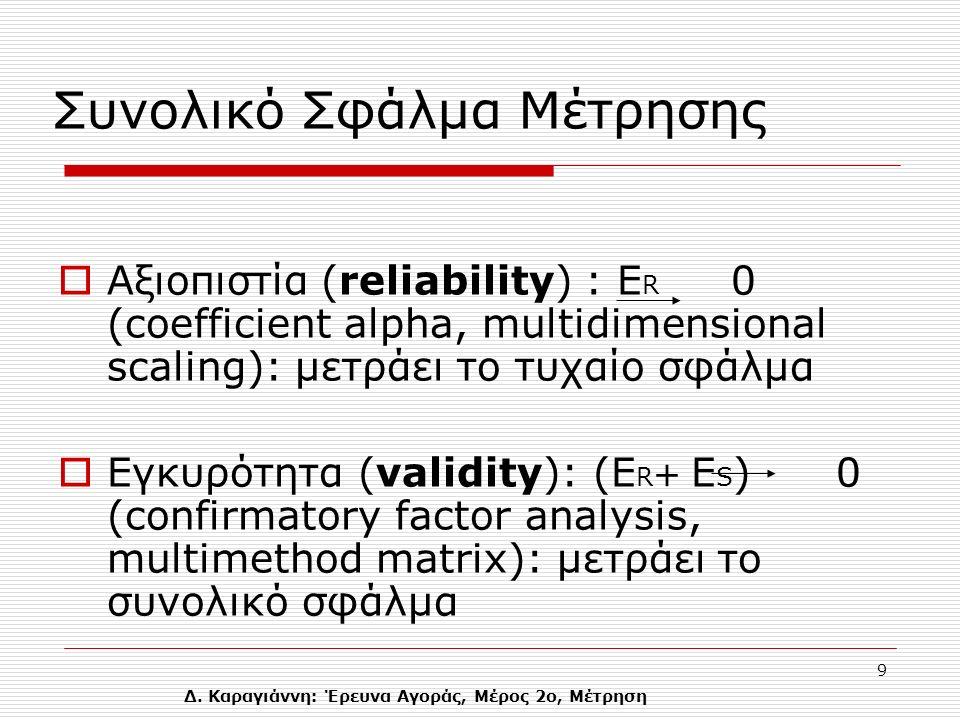Δ. Καραγιάννη: Έρευνα Αγοράς, Μέρος 2ο, Μέτρηση 9  Αξιοπιστία (reliability) : Ε R 0 (coefficient alpha, multidimensional scaling): μετράει το τυχαίο