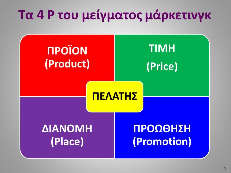 Τα 4 P του μείγματος μάρκετινγκ 12 ΠΡΟΪΟΝ (Product) ΤΙΜΗ (Price) ΔΙΑΝΟΜΗ (Place) ΠΡΟΩΘΗΣΗ (Promotion) ΠΕΛΑΤΗΣ