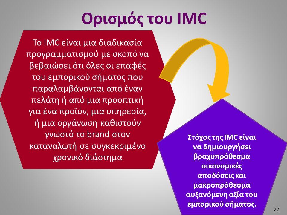 Ορισμός του IMC 27 Το IMC είναι μια διαδικασία προγραμματισμού με σκοπό να βεβαιώσει ότι όλες οι επαφές του εμπορικού σήματος που παραλαμβάνονται από έναν πελάτη ή από μια προοπτική για ένα προϊόν, μια υπηρεσία, ή μια οργάνωση καθιστούν γνωστό το brand στον καταναλωτή σε συγκεκριμένο χρονικό διάστημα Στόχος της IMC είναι να δημιουργήσει βραχυπρόθεσμα οικονομικές αποδόσεις και μακροπρόθεσμα αυξανόμενη αξία του εμπορικού σήματος.