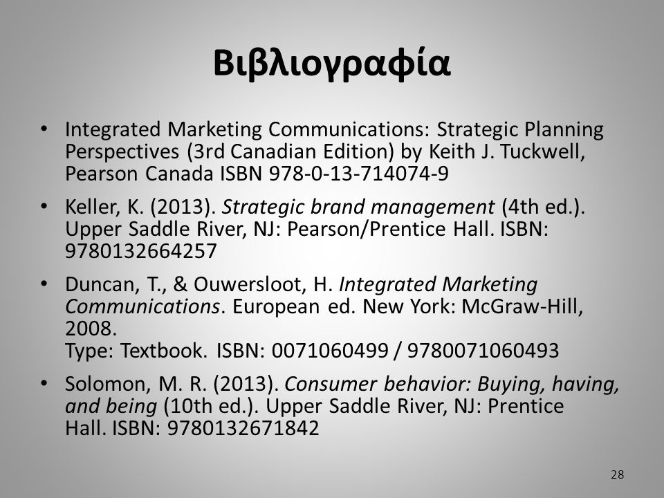Βιβλιογραφία Integrated Marketing Communications: Strategic Planning Perspectives (3rd Canadian Edition) by Keith J.
