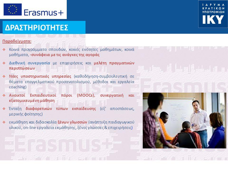 Date: in 12 pts ΔΡΑΣΤΗΡΙΟΤΗΤΕΣ Παραδείγματα:  Κοινά προγράμματα σπουδών, κοινές ενότητες μαθημάτων, κοινά μαθήματα, -συνάφεια με τις ανάγκες της αγοράς  Διεθνική συνεργασία με επιχειρήσεις και μελέτη πραγματικών περιπτώσεων  Νέες υποστηρικτικές υπηρεσίες (καθοδήγηση-συμβουλευτική σε θέματα επαγγελματικού προσανατολισμού, μέθοδοι και εργαλεία coaching)  Ανοικτοί Εκπαιδευτικοί πόροι (MOOCs), συνεργατική και εξατομικευμένη μάθηση  Ένταξη διαφορετικών τύπων εκπαίδευσης (εξ' αποστάσεως, μερικής φοίτησης)  εκμάθηση και διδασκαλία ξένων γλωσσών (ανάπτυξη παιδαγωγικού υλικού, on-line εργαλεία εκμάθησης, ξένες γλώσσες & επιχειρήσεις)