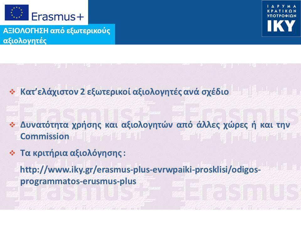 Date: in 12 pts  Κατ'ελάχιστον 2 εξωτερικοί αξιολογητές ανά σχέδιο  Δυνατότητα χρήσης και αξιολογητών από άλλες χώρες ή και την Commission  Tα κριτήρια αξιολόγησης : http://www.iky.gr/erasmus-plus-evrwpaiki-prosklisi/odigos- programmatos-erusmus-plus ΑΞΙΟΛΟΓΗΣΗ από εξωτερικούς αξιολογητές