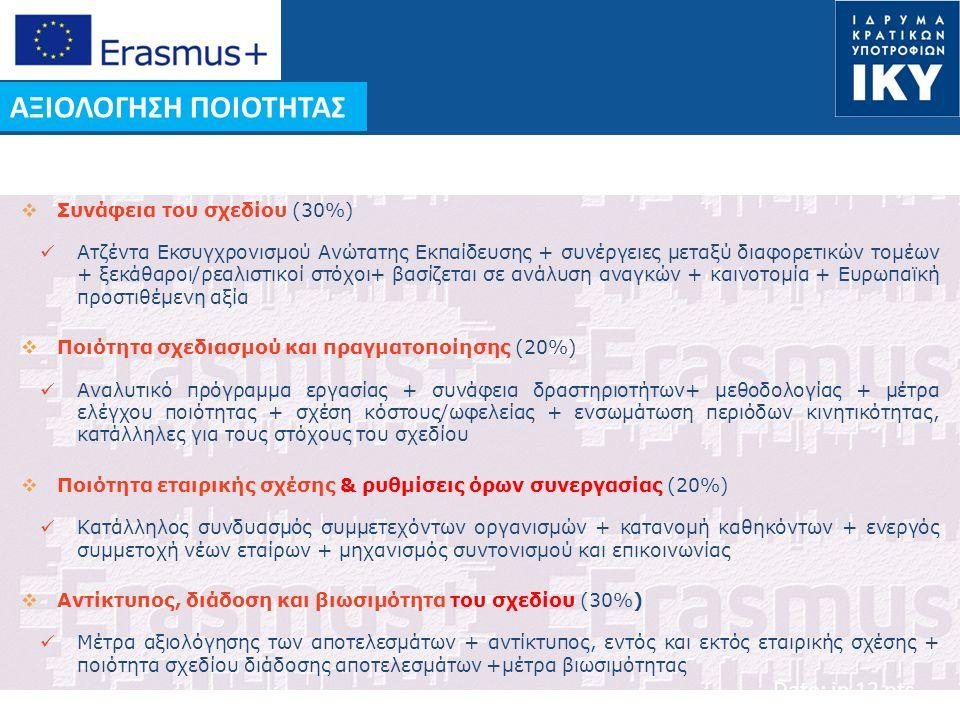 Date: in 12 pts ΑΞΙΟΛΟΓΗΣΗ ΠΟΙΟΤΗΤΑΣ  Συνάφεια του σχεδίου (30%) Ατζέντα Εκσυγχρονισμού Ανώτατης Εκπαίδευσης + συνέργειες μεταξύ διαφορετικών τομέων + ξεκάθαροι/ρεαλιστικοί στόχοι+ βασίζεται σε ανάλυση αναγκών + καινοτομία + Ευρωπαϊκή προστιθέμενη αξία  Ποιότητα σχεδιασμού και πραγματοποίησης (20%) Αναλυτικό πρόγραμμα εργασίας + συνάφεια δραστηριοτήτων+ μεθοδολογίας + μέτρα ελέγχου ποιότητας + σχέση κόστους/ωφελείας + ενσωμάτωση περιόδων κινητικότητας, κατάλληλες για τους στόχους του σχεδίου  Ποιότητα εταιρικής σχέσης & ρυθμίσεις όρων συνεργασίας (20%) Κατάλληλος συνδυασμός συμμετεχόντων οργανισμών + κατανομή καθηκόντων + ενεργός συμμετοχή νέων εταίρων + μηχανισμός συντονισμού και επικοινωνίας  Αντίκτυπος, διάδοση και βιωσιμότητα του σχεδίου (30%) Μέτρα αξιολόγησης των αποτελεσμάτων + αντίκτυπος, εντός και εκτός εταιρικής σχέσης + ποιότητα σχεδίου διάδοσης αποτελεσμάτων +μέτρα βιωσιμότητας