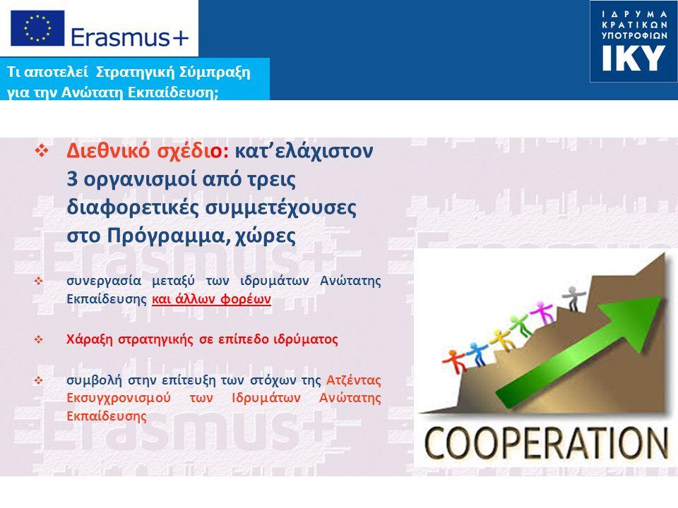 Date: in 12 pts Τι αποτελεί Στρατηγική Σύμπραξη για την Ανώτατη Εκπαίδευση;  Διεθνικό σχέδιο: κατ'ελάχιστον 3 οργανισμοί από τρεις διαφορετικές συμμετέχουσες στο Πρόγραμμα, χώρες  συνεργασία μεταξύ των ιδρυμάτων Ανώτατης Εκπαίδευσης και άλλων φορέων  Χάραξη στρατηγικής σε επίπεδο ιδρύματος  συμβολή στην επίτευξη των στόχων της Ατζέντας Eκσυγχρονισμού των Ιδρυμάτων Ανώτατης Εκπαίδευσης