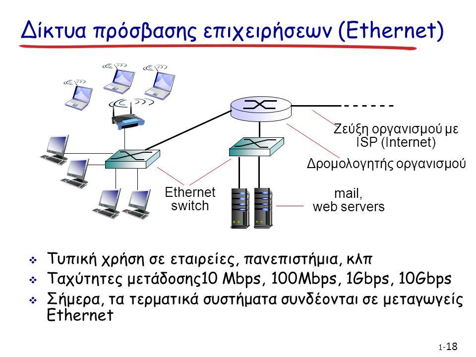 Δίκτυα πρόσβασης επιχειρήσεων (Ethernet)  Τυπική χρήση σε εταιρείες, πανεπιστήμια, κλπ  Ταχύτητες μετάδοσης10 Mbps, 100Mbps, 1Gbps, 10Gbps  Σήμερα, τα τερματικά συστήματα συνδέονται σε μεταγωγείς Ethernet Ethernet switch mail, web servers Δρομολογητής οργανισμού Ζεύξη οργανισμού με ISP (Internet) 1- 18