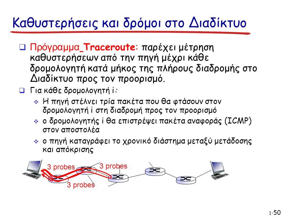 Καθυστερήσεις και δρόμοι στο Διαδίκτυο  Πρόγραμμα Traceroute: παρέχει μέτρηση καθυστερήσεων από την πηγή μέχρι κάθε δρομολογητή κατά μήκος της πλήρους διαδρομής στο Διαδίκτυο προς τον προορισμό.