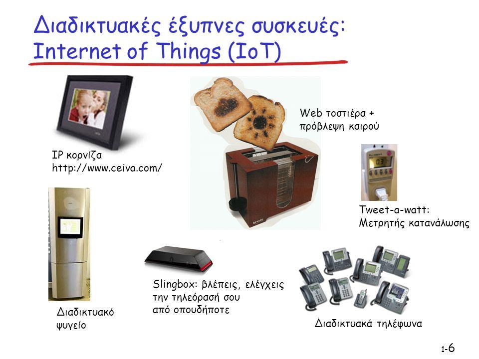 Διαδικτυακές έξυπνες συσκευές: Internet of Things (IoT) IP κορνίζα http://www.ceiva.com/ Web τοστιέρα + πρόβλεψη καιρού Διαδικτυακά τηλέφωνα Διαδικτυακό ψυγείο Slingbox: βλέπεις, ελέγχεις την τηλεόρασή σου από οπουδήποτε 1- 6 Tweet-a-watt: Μετρητής κατανάλωσης