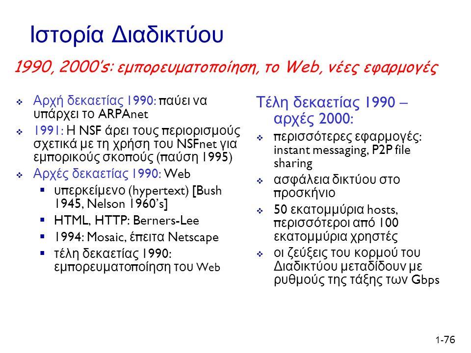1- 76 Ιστορία Διαδικτύου  Αρχή δεκαετίας 1990: π αύει να υ π άρχει το ARPAnet  1991: Η NSF άρει τους π εριορισμούς σχετικά με τη χρήση του NSFnet για εμ π ορικούς σκο π ούς (π αύση 1995)  Αρχές δεκαετίας 1990: Web  υ π ερκείμενο (hypertext) [Bush 1945, Nelson 1960's]  HTML, HTTP: Berners-Lee  1994: Mosaic, έ π ειτα Netscape  τέλη δεκαετίας 1990: εμ π ορευματο π οίηση του Web Τέλη δεκαετίας 1990 – αρχές 2000:  περισσότερες εφαρμογές: instant messaging, P2P file sharing  ασφάλεια δικτύου στο προσκήνιο  50 εκατομμύρια hosts, περισσότεροι από 100 εκατομμύρια χρηστές  οι ζεύξεις του κορμού του Διαδικτύου μεταδίδουν με ρυθμούς της τάξης των Gbps 1990, 2000's: εμπορευματοποίηση, το Web, νέες εφαρμογές