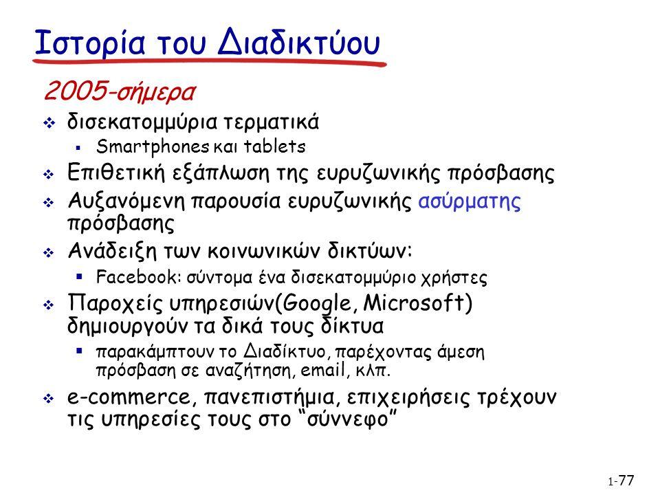 2005-σήμερα  δισεκατομμύρια τερματικά  Smartphones και tablets  Επιθετική εξάπλωση της ευρυζωνικής πρόσβασης  Αυξανόμενη παρουσία ευρυζωνικής ασύρματης πρόσβασης  Ανάδειξη των κοινωνικών δικτύων:  Facebook: σύντομα ένα δισεκατομμύριο χρήστες  Παροχείς υπηρεσιών(Google, Microsoft) δημιουργούν τα δικά τους δίκτυα  παρακάμπτουν το Διαδίκτυο, παρέχοντας άμεση πρόσβαση σε αναζήτηση, email, κλπ.