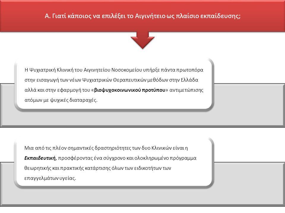 Η Ψυχιατρική Κλινική του Αιγινητείου Νοσοκομείου υπήρξε πάντα πρωτοπόρα στην εισαγωγή των νέων Ψυχιατρικών Θεραπευτικών μεθόδων στην Ελλάδα αλλά και στην εφαρμογή του «βιοψυχοκοινωνικού προτύπου» αντιμετώπισης ατόμων με ψυχικές διαταραχές.