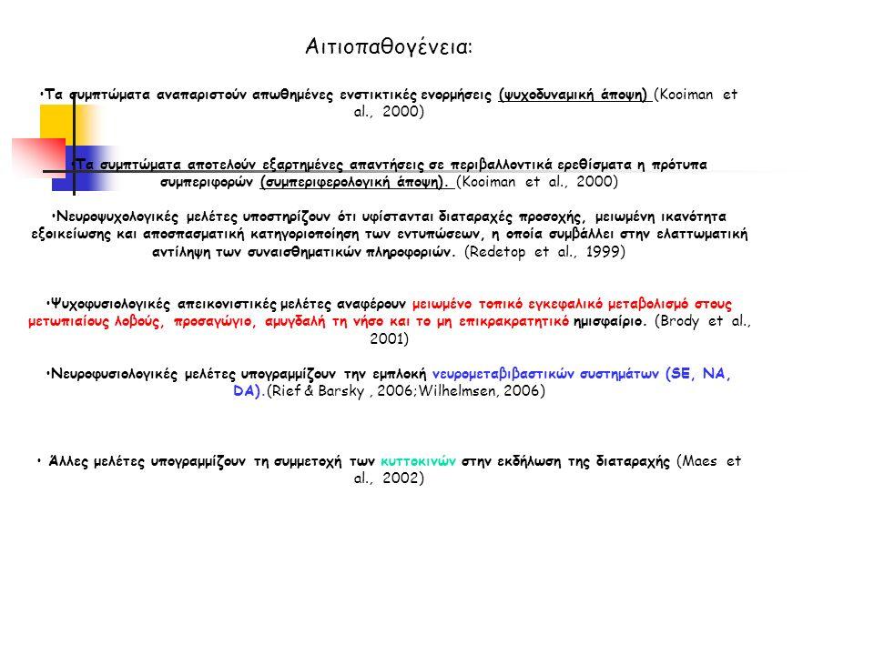 Αιτιοπαθογένεια: Τα συμπτώματα αναπαριστούν απωθημένες ενστικτικές ενορμήσεις (ψυχοδυναμική άποψη) (Kooiman et al., 2000) Τα συμπτώματα αποτελούν εξαρτημένες απαντήσεις σε περιβαλλοντικά ερεθίσματα η πρότυπα συμπεριφορών (συμπεριφερολογική άποψη).