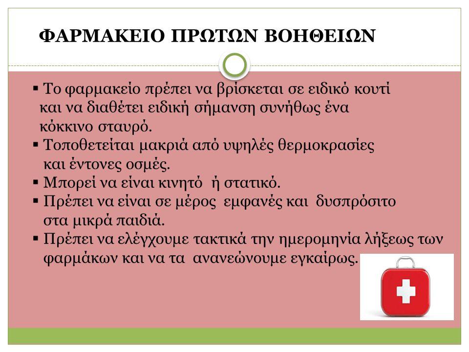 ΦΑΡΜΑΚΕΙΟ ΠΡΩΤΩΝ ΒΟΗΘΕΙΩΝ  Το φαρμακείο πρέπει να βρίσκεται σε ειδικό κουτί και να διαθέτει ειδική σήμανση συνήθως ένα κόκκινο σταυρό.