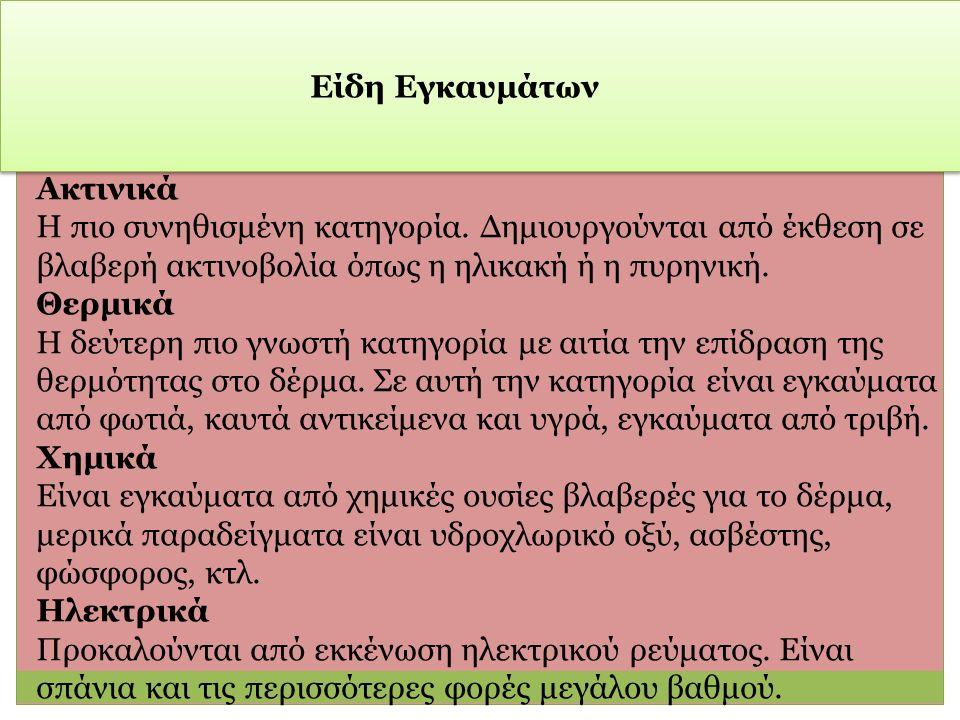 Είδη Εγκαυμάτων Ακτινικά Η πιο συνηθισμένη κατηγορία.