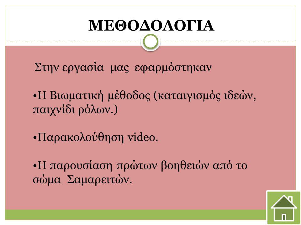 ΜΕΘΟΔΟΛΟΓΙΑ Στην εργασία μας εφαρμόστηκαν H Βιωματική μέθοδος (καταιγισμός ιδεών, παιχνίδι ρόλων.) Παρακολούθηση video.