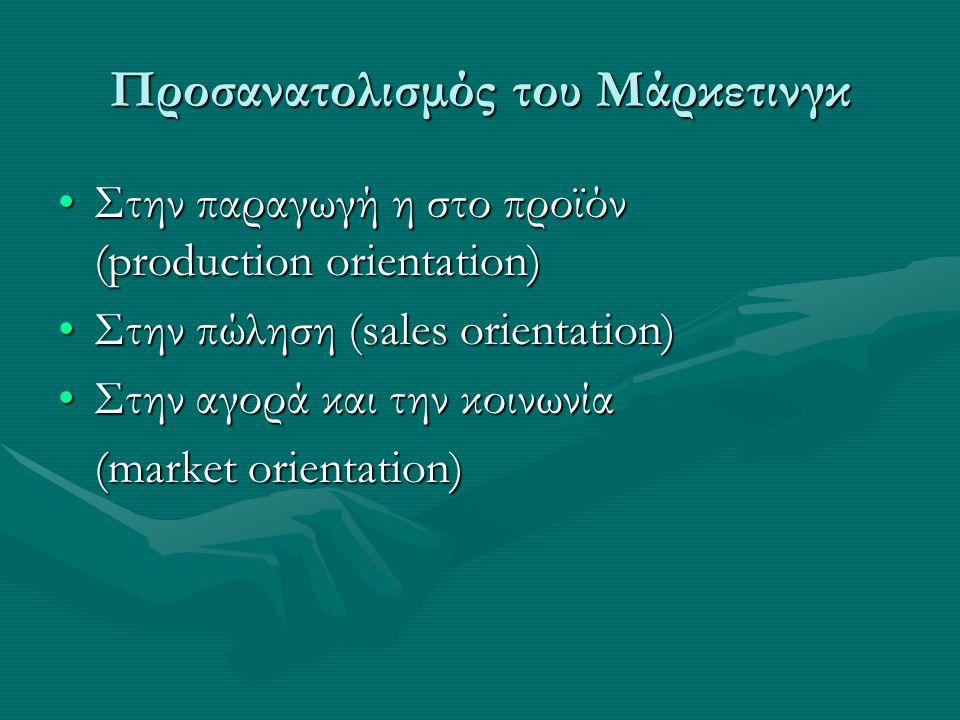 Προσανατολισμός του Μάρκετινγκ Στην παραγωγή η στο προϊόν (production orientation)Στην παραγωγή η στο προϊόν (production orientation) Στην πώληση (sales orientation)Στην πώληση (sales orientation) Στην αγορά και την κοινωνίαΣτην αγορά και την κοινωνία (market orientation) (market orientation)