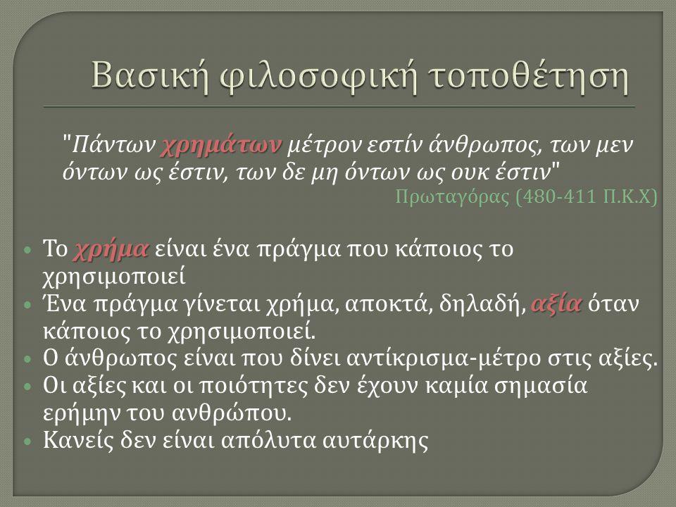 χρημάτων Πάντων χρημάτων μέτρον εστίν άνθρωπος, των μεν όντων ως έστιν, των δε μη όντων ως ουκ έστιν Πρωταγόρας (480-411 Π.
