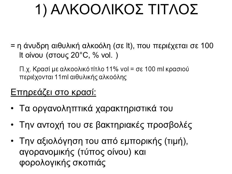 1) ΑΛΚΟΟΛΙΚΟΣ ΤΙΤΛΟΣ = η άνυδρη αιθυλική αλκοόλη (σε lt), που περιέχεται σε 100 lt οίνου (στους 20°C, % vol.