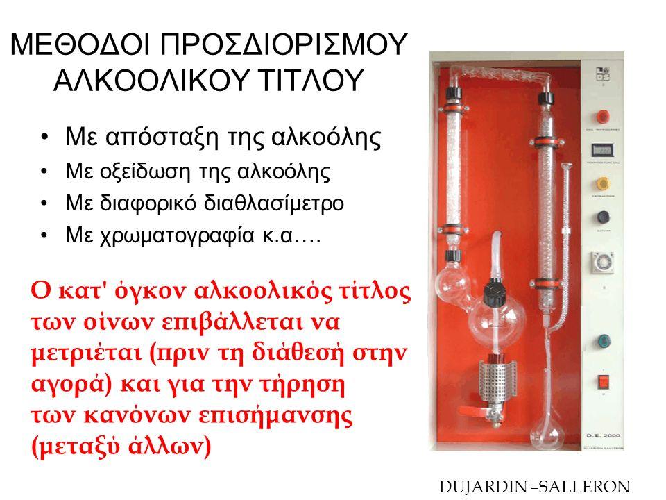 ΠΡΟΣΔΙΟΡΙΣΜΟΣ ΑΛΚΟΟΛΙΚΟΥ ΤΙΤΛΟΥ ΜΕ ΑΠΟΣΤΑΞΗ Αρχή της μεθόδου : Α) Απόσταξη για διαχωρισμό της αλκοόλης από τις μη πτητικές ουσίες:  Η απόσταξη γίνεται αφού καταστεί ο οίνος αλκαλικός (+ εναιώρημα υδροξειδίου του ασβεστίου= γάλα ασβεστίου)  Στο απόσταγμα = διάφορες ενώσεις της αιθανόλης Β) Προσδιορισμός πυκνότητας του αποστάγματος στους 20°C με αλκοολόμετρο (αραιόμετρο) Γ) Μετατροπή της πυκνότητας σε αλκοολικό τίτλο με τους ειδικούς πίνακες αντιστοιχίας