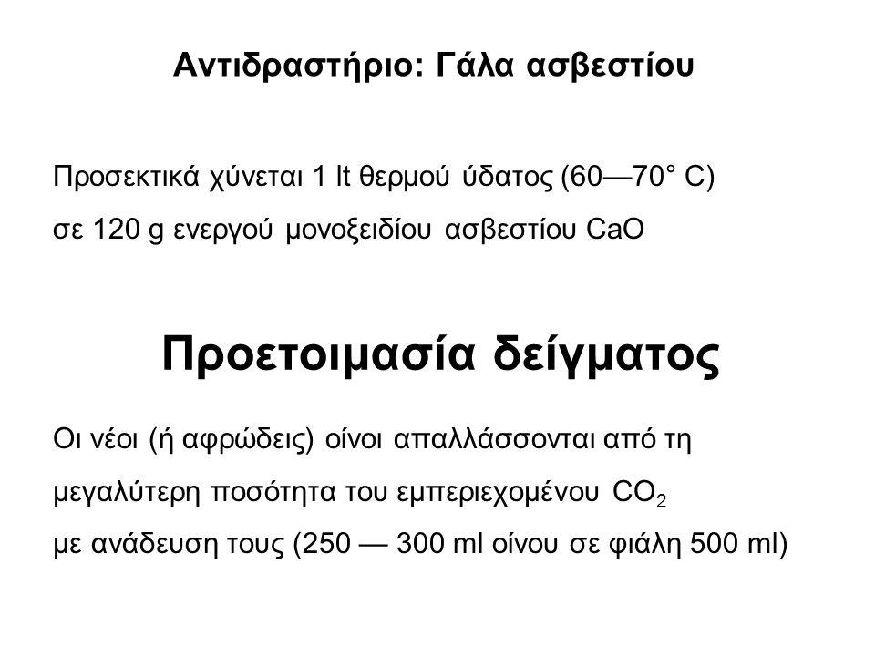 Αντιδραστήριο: Γάλα ασβεστίου Προσεκτικά χύνεται 1 lt θερμού ύδατος (60—70° C) σε 120 g ενεργού μονοξειδίου ασβεστίου CaO Οι νέοι (ή αφρώδεις) οίνοι απαλλάσσονται από τη μεγαλύτερη ποσότητα του εμπεριεχομένου CO 2 με ανάδευση τους (250 — 300 ml οίνου σε φιάλη 500 ml) Προετοιμασία δείγματος