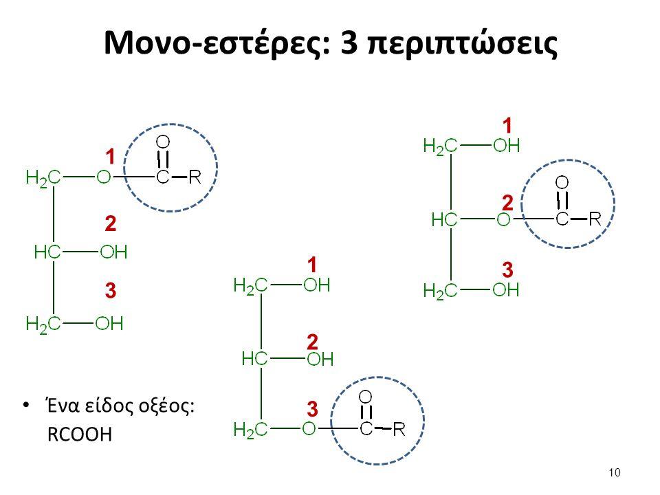 Μονο-εστέρες: 3 περιπτώσεις Ένα είδος οξέος: RCOOH 10 1 2 3 1 2 3 1 2 3
